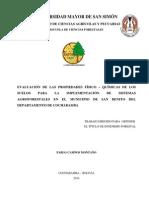 Evaluación de las propiedades físico - químicas de los suelos.