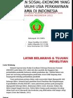 DETERMINAN SOSIAL-EKONOMI YANG MEMPENGARUHI USIA PERKAWINAN PERTAMA DI INDONESIA (Analisis Data Hasil Survei Demografi dan Kesehatan Indonesia 2012)