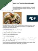 Bermacam-macam Resep Menu Masakan Rumahan Simpel Indonesia