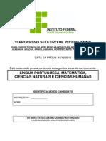 Prova Tecnico Integrado 2013 IFNMG