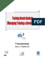 Training Needs Analysis (Managing Training & Development)