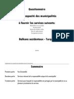 Questionnaire sur la capacité des municipalités à fournir les services suivants
