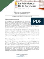 Compte Rendu Du Conseil Des Ministres - Mercredi 16 Septembre 2015