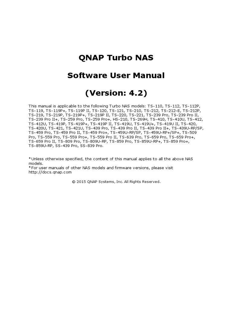 QTS User Manual Home Eng 4.2   Electromagnetic Interference   Installation  (Computer Programs)