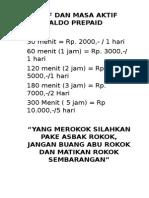 Tarif Dan Masa Aktif Saldo Prepaid