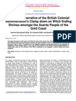 A Historical Narrative of British Colonial Administration's Clamp-Down on Witch Finding Shrine Amongst the Asante People of the Gold Coast