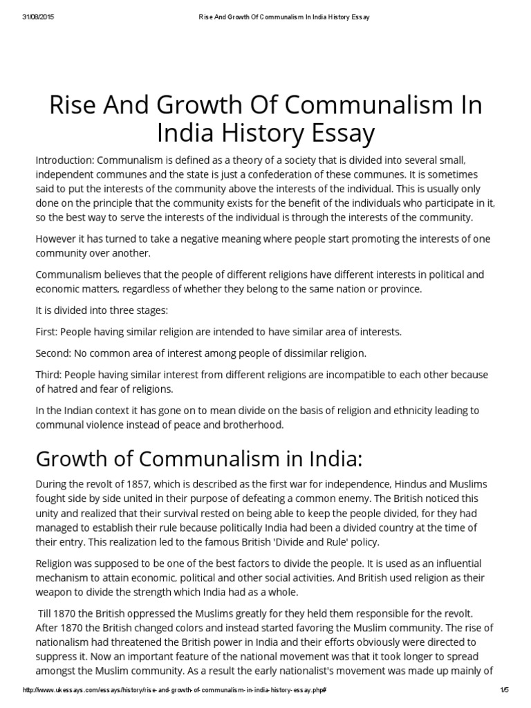 rise and growth of communalism in history essay all  rise and growth of communalism in history essay all muslim league partition of