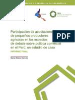 Participacion de asociados de pequeños productores agricolas en los espacios
