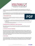 Pre Shutdown Checklist