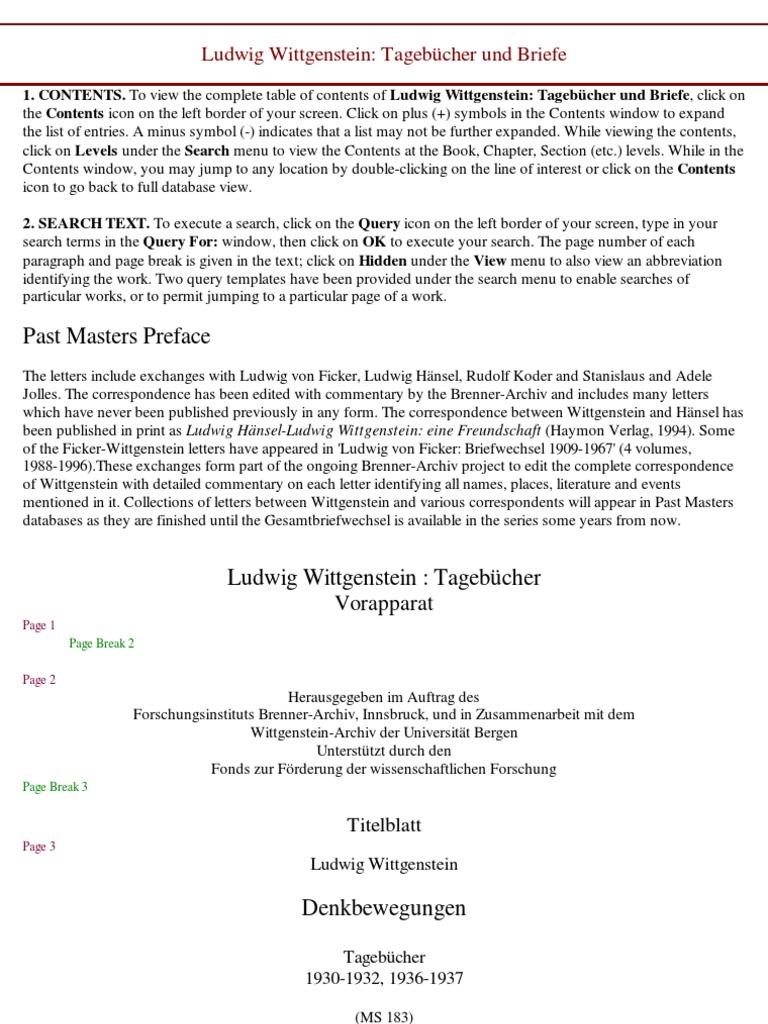 Herzl Briefe Und Tagebücher : Ludwig wittgenstein tagebücher und briefe s