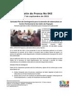 Boletín 043_ Activado Plan de Contingencia Para La Atención de Tuberculosis en Centro Penitenciario San Isidro de Popayán