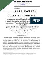 Anunt Testare Engleza 2015