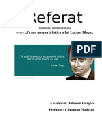 Proza Memorialistica a Lui Lucian Blaga