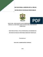 EFECTO DEL  FERTILIZANTE FOLIAR POWERGIZER®45  EN ESPUMA AGRICOLA ULTRAFOAM® COMO SUSTRATO PARA TRES ESPECIES FORESTALES.