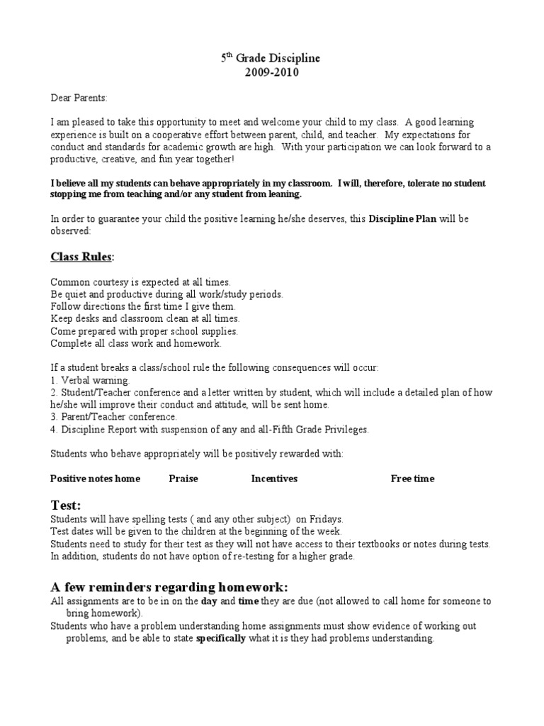 5th grade discipline plan homework teachers