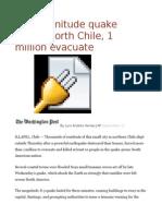 8.3-Magnitude Quake Rattles North Chile, 1 Million Evacuate