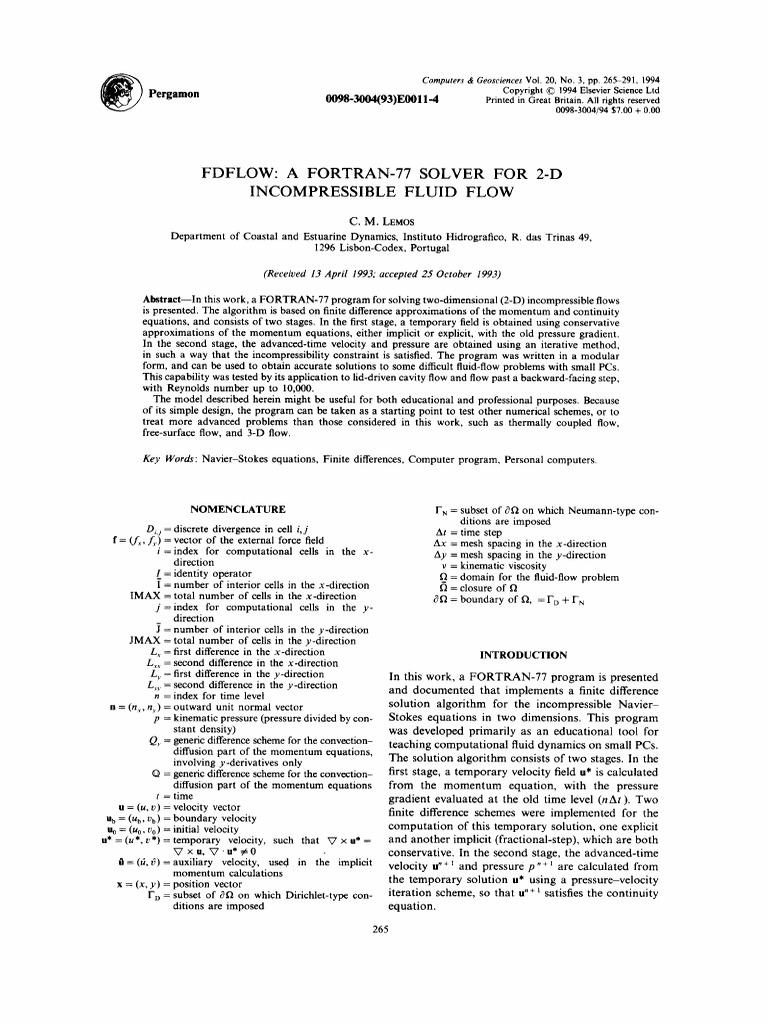 Fdflow a Fortran 77 Solver for 2d Incomp Flow   Vortices   Fluid
