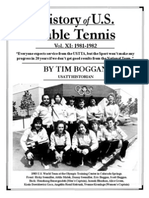 History of U S Table Tennis Vol XI 1981 1982