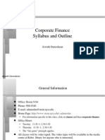SYLABUS Corporate Finance