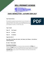 Year 6 Newsletter Autumn 2015