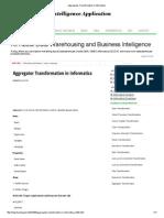 Aggregator Transformation in Informatica