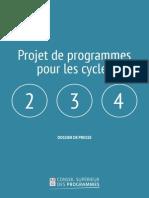 Le projet de programmes pour les cycles 2, 3 et 4