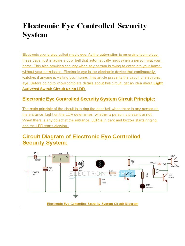 Electronic Eye Controlled Security System Circuits P Kit Ultrasonic Mosquito Repeller Circuit Projects Pn Junction