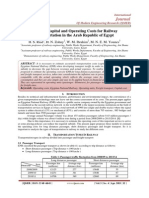 Estimate Capital and Operating Costs for Railway Transportation in the Arab Republic of Egypt