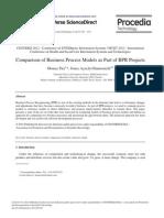 Compariso Comparison of Business Process Models n of Business Process Models as Part of BPR Projects