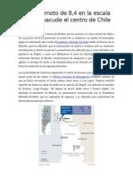 Un Terremoto de 8,4 en La Escala Richter Sacude El Centro de Chile