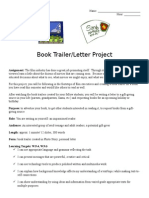 book trailer project with letter 2015 50 point rubric