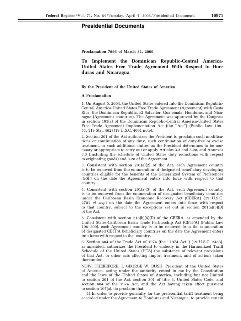 Proclamation Honduras And Nicaragua Free Trade Agreement Proc