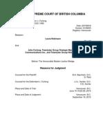 Judge Wedge, Re Robinson v. Furlong, Judgement<2015