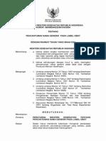 PMK No. 988 Ttg Pencantuman Nama Generik Pada Label Obat