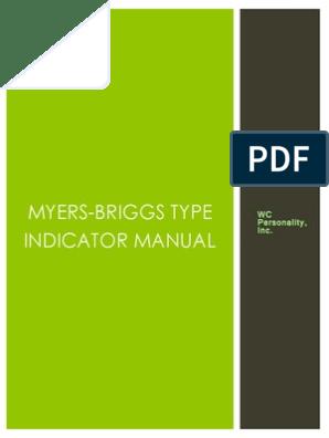 Myers-briggs Type Indicator Manual