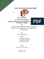 """Universidad Te""""plan de monitoreo Ambiental de, Zn, As y Hg de los efluentes minero metalúrgicos de la Unidad Minera Cerro de Pasco""""cnológica Del Perú"""