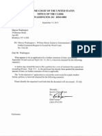 Washington v. William Morris Endeavor Entertainment (15A126) -- Letter From Supreme Court's Erik Fossum Returning Application to Stay Extension, Or In the Alternative, App. Exceed Word Limits [Sept. 15, 2015]