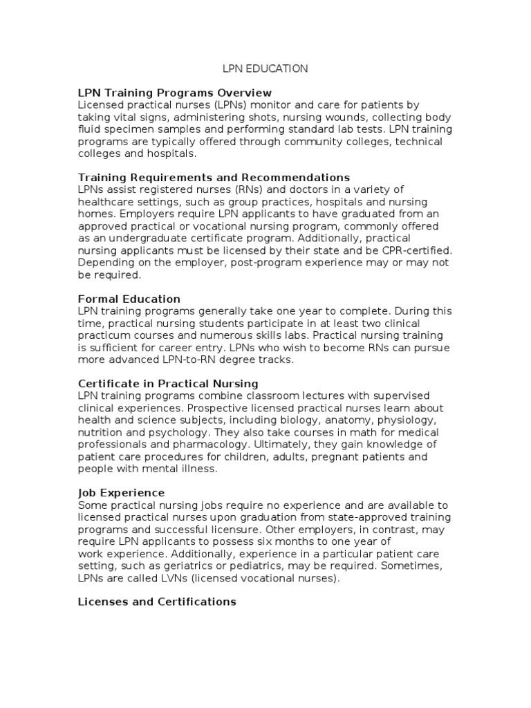 Lpn Education Nursing Employment