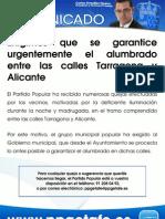 13-9-09 Informa alumbrado c/ Tarragona y c/ Alicante
