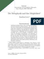 Lowe, Die Metaphysik Und Ihre Möglichkeit