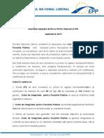 Rezoluție adoptată de BPN al PNL - Septembrie 2015