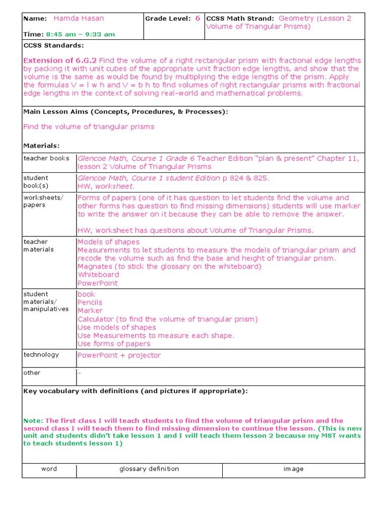 worksheet Volume Of Triangular Prism Worksheet hamda hasan long lesson plan triangle volume