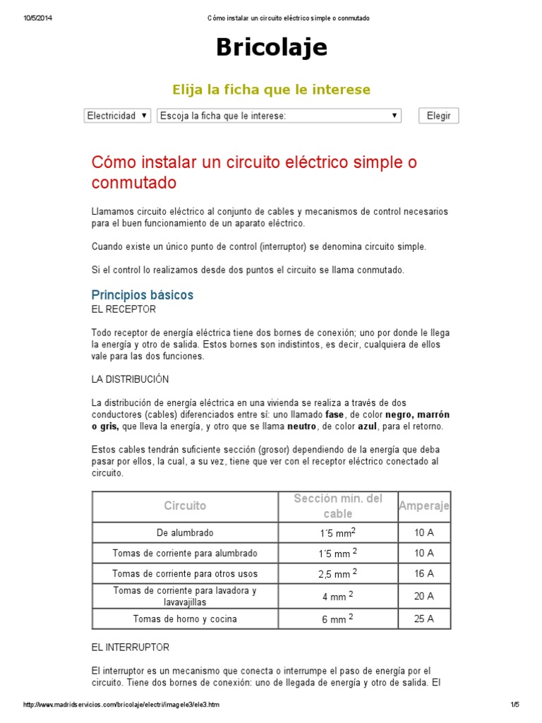 Circuito Electrico Simple : Circuito eléctrico simple o conmutado.pdf