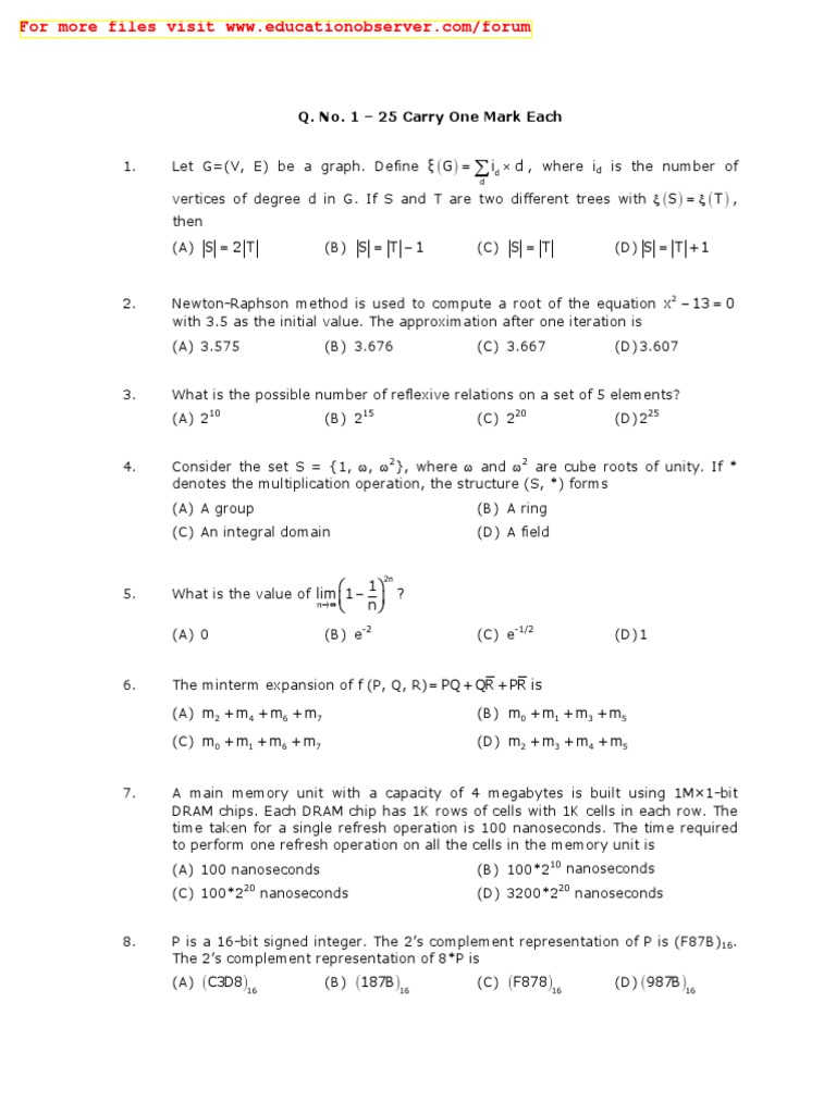 Gate Cs Paper 2010 | Computer Programming | Areas Of