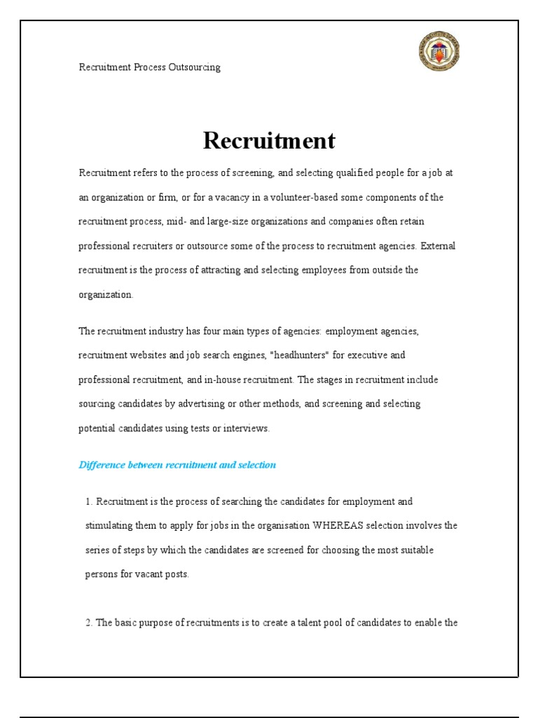 Recruitment Process Outsourcing Outsourcing Recruitment
