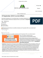 19 September 2015 Current Affairs