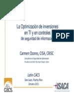 La Optimización de Inversiones en TI y en Controles de Seguridad de Informacion