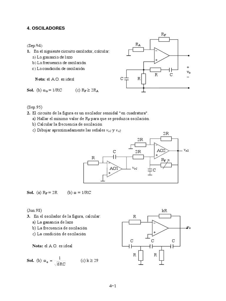 Circuito Oscilador : Prob sec osciladores