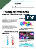 10 Trucos de Matemáticas Que Facilitarán Tus Clases