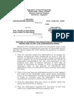 Motion to Fix Supersedeas Bond to Stay Execution-Seguro vs. Baloran Copy